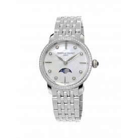 Frederique Constant Slimline Moonphase Diamond Ladies Watch ~ FC-206MPWD1SD6B