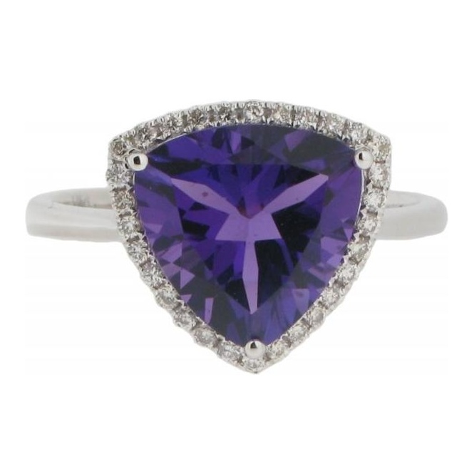 Gemstone & Diamonds 18ct White Gold Amethyst and Diamond Cluster Ring R7463AM