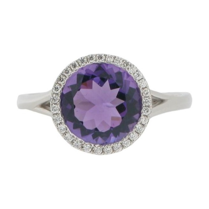 Gemstone & Diamonds 18ct White Gold Amethyst and Diamond Cluster Ring V1048