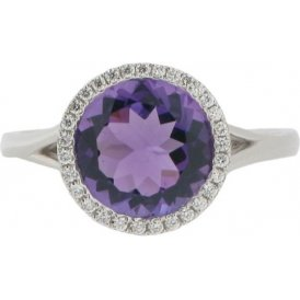 18ct White Gold Amethyst and Diamond Cluster Ring V1048