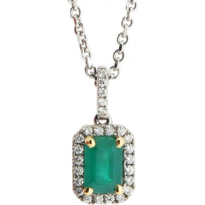 Gemstone & Diamonds 18ct White Gold Emerald and Diamond Pendant 9880EW