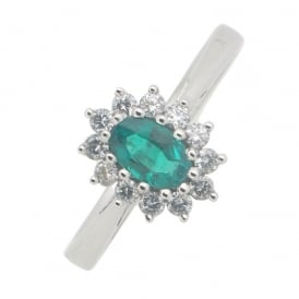 18ct White Gold Emerald and Diamond Ring ~ 9639EW