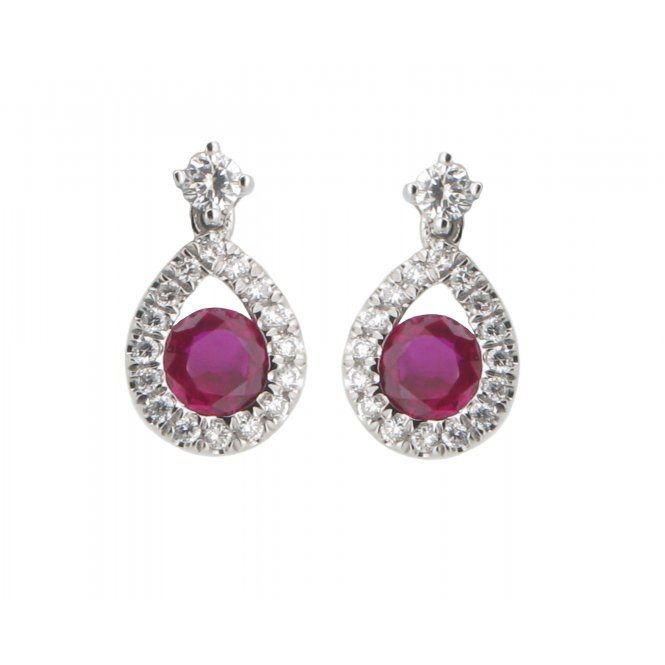 Gemstone & Diamonds 18ct White Gold Ruby and Diamond Earrings EL183