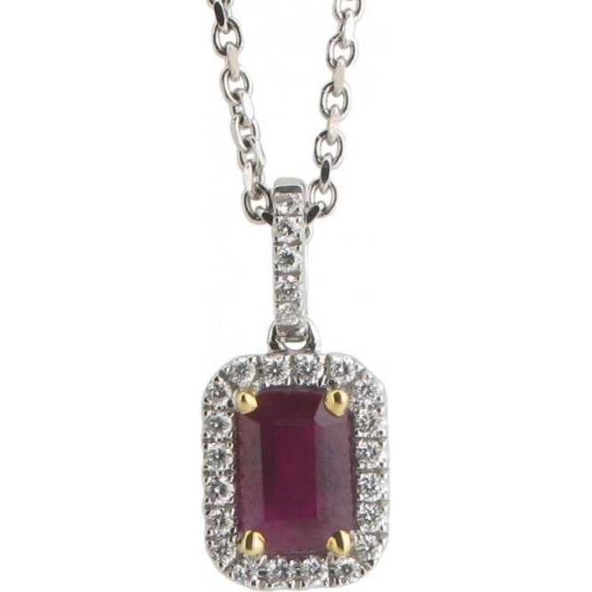 Gemstone & Diamonds 18ct White Gold Ruby and Diamond Pendant 9880RW