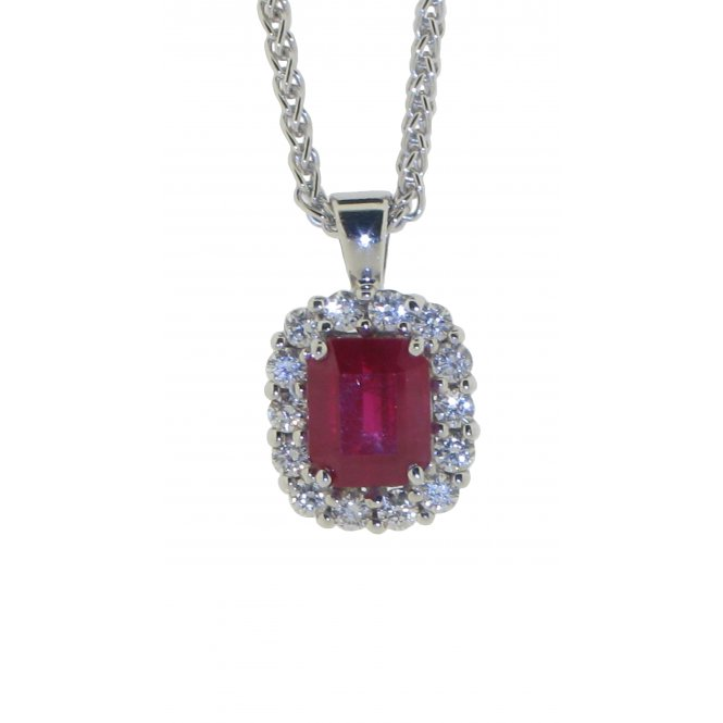 Gemstone & Diamonds 18ct White Gold Ruby and Diamond Pendant G161