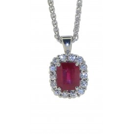 18ct White Gold Ruby and Diamond Pendant G161