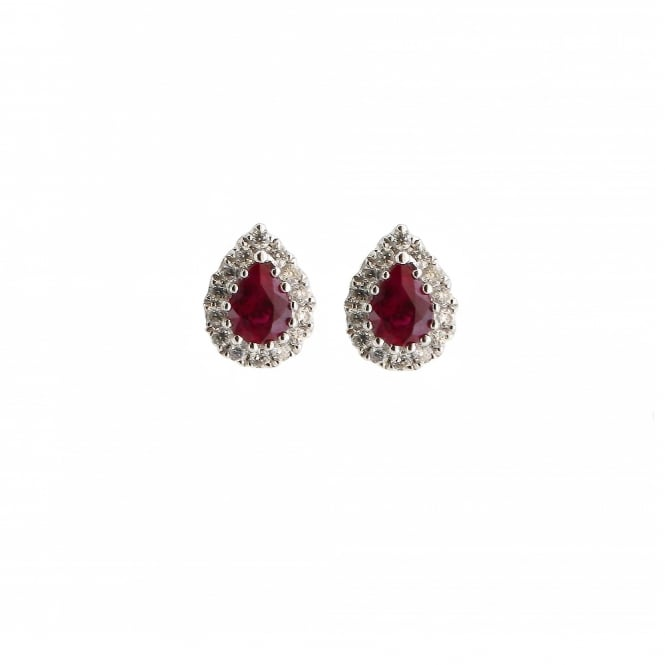 Gemstone & Diamonds 18ct White Gold Ruby & Diamond Pear-Shaped Earrings ~ AX56