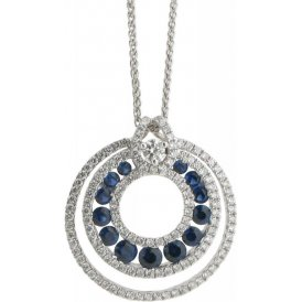 18ct White Gold Sapphire and Diamond Pendant AX2373