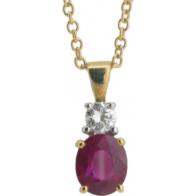 Gemstone & Diamonds 18ct Yellow Gold Ruby and Diamond Pendant POCFN5666
