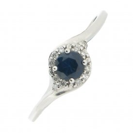 9ct White Gold Blue Sapphire and Diamond Ring ~ 51Z82WG-SA