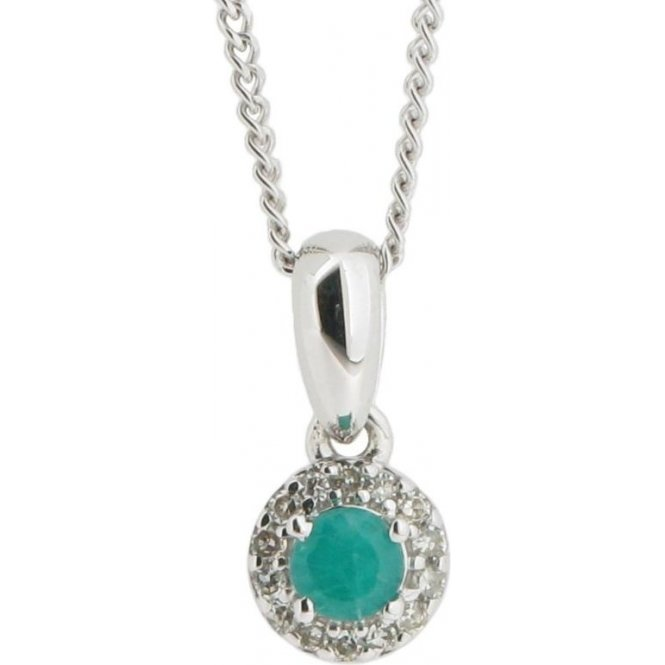 Gemstone & Diamonds 9ct White Gold Emerald and Diamond Pendant GP8759