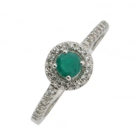 9ct White Gold Emerald and Diamond Ring ~ GR4179