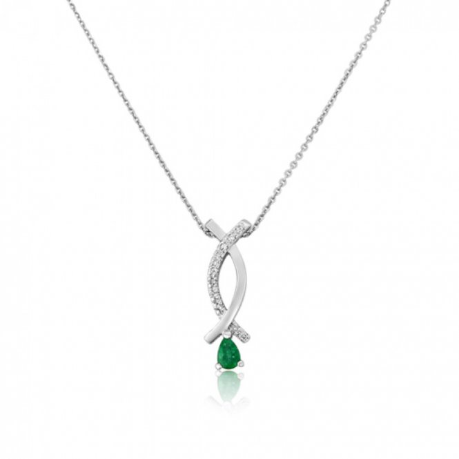 Gemstone & Diamonds White Gold Diamond & Emerald Pendant ~ 6K71WDE