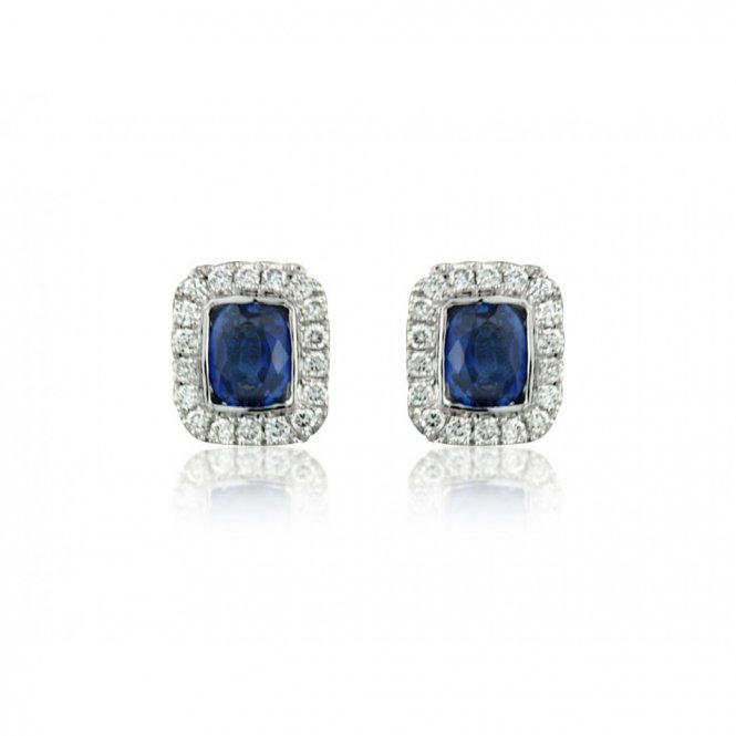 Gemstone & Diamonds White Gold Diamond & Sapphire Earrings ~ 8F41W-18DS