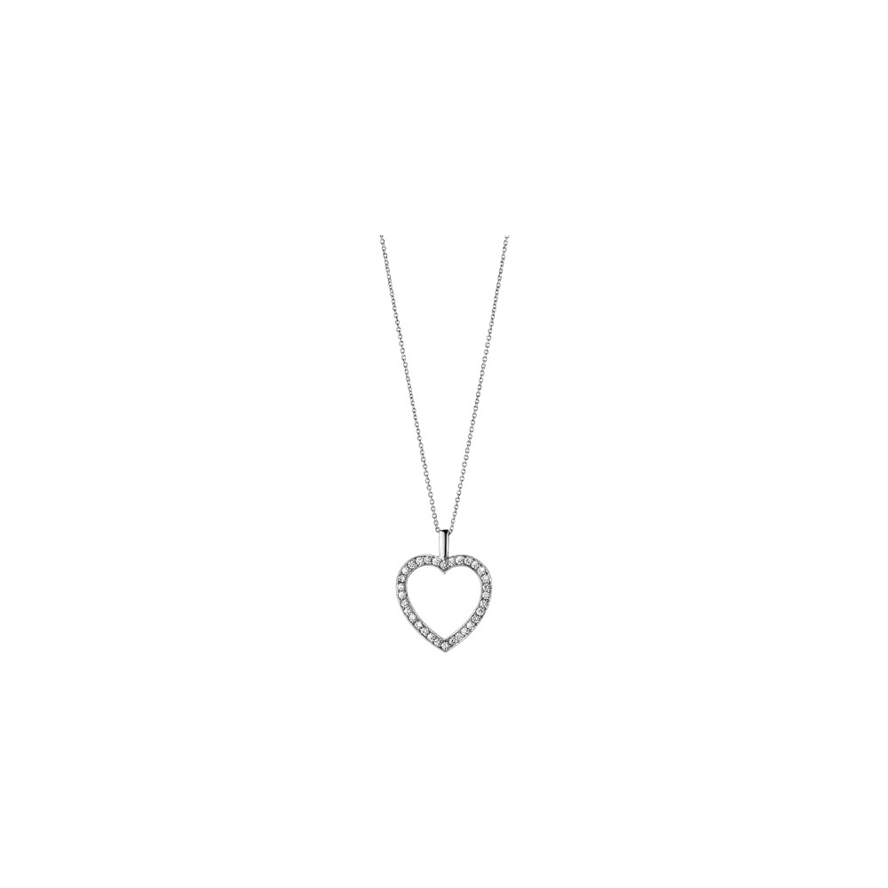 Georg Jensen 18ct White Gold Heart Necklace with Diamonds