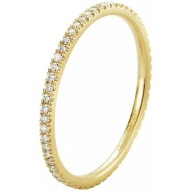Georg Jensen Classique Yellow Gold Diamond Ring 54 ~ 3571527