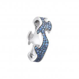 Georg Jensen Fusion Centre Ring White Gold Blue Sapphires 54