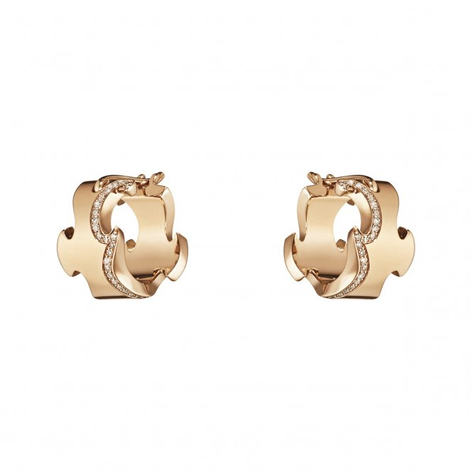 Georg Jensen Fusion Rose Gold & Diamond Earrings ~ 3518409