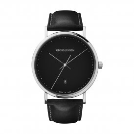 Georg Jensen Koppel Black Leather Gents Watch ~ 3575711