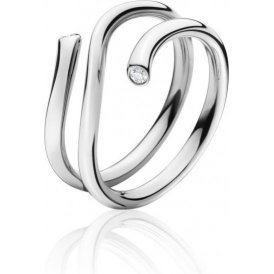 Georg Jensen Magic 18ct White Gold Diamond Outer Ring 52
