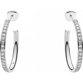 Georg Jensen Magic White Gold Diamond Pave Small Hoops ~ 3519837