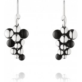 Georg Jensen Silver Moonlight Grapes Earhooks with Black Agate