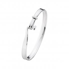 Georg Jensen Torun Bangle - Silver/Diamond - Medium ~ 3531283-M