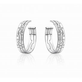 Georg Jensen White Gold Fusion Earhoops With Diamonds ~ 3519808
