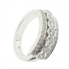 Hans D. Krieger 18ct White Gold 3-Row Diamond Dress Ring