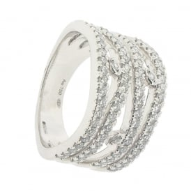 Hans D. Krieger 18ct White Gold 4-Row Wave Band Diamond Ring