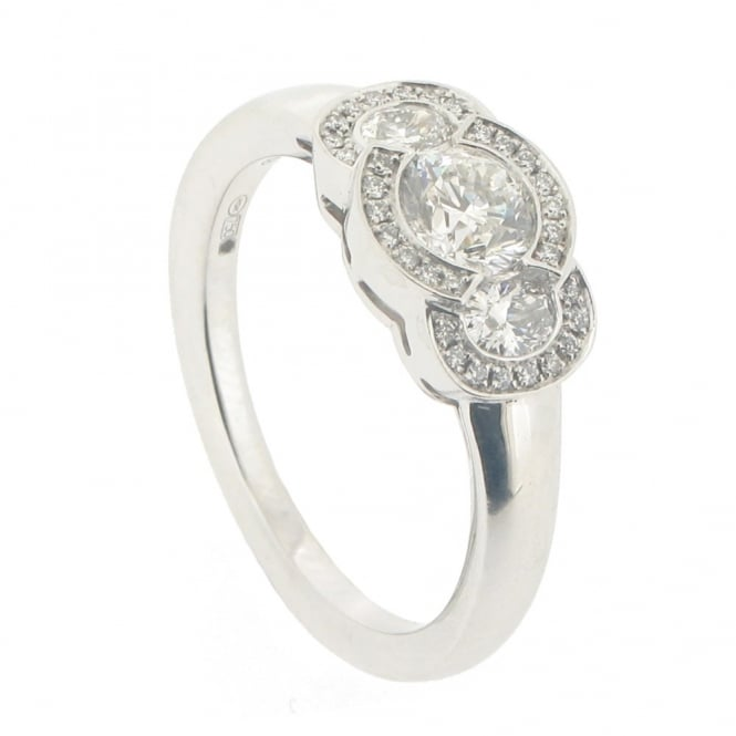 Hans D. Krieger 18ct White Gold Fancy 3-Stone Cluster Ring