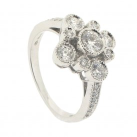 Hans D. Krieger 18ct White Gold Rhomb-Shape Cluster Diamond Ring