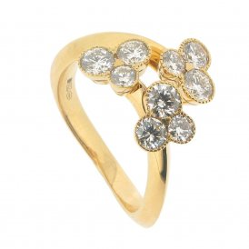 Hans D. Krieger 18ct Yellow Gold Fancy Diamond Trefoil Ring