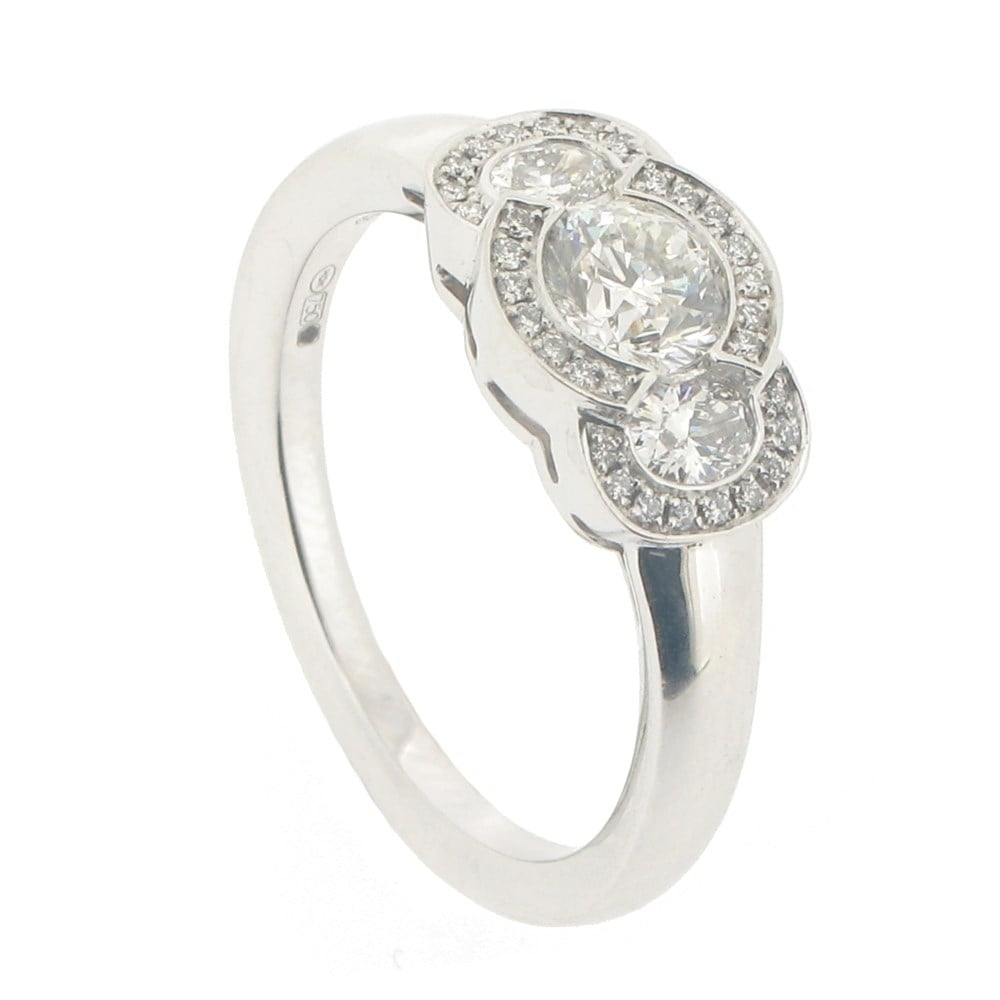 744889af2e501 Oval & Round Brilliant Cut Diamond Halo Trilogy Ring - 0.80ct
