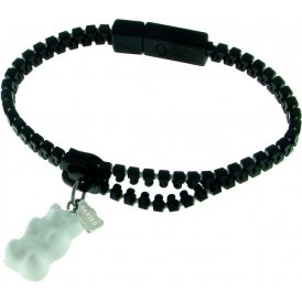 Haribo Black Luminous Zipper Bracelet with White Gummi Bear