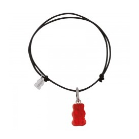 Haribo Black Textile Bracelet With Small Red Gummi Bear