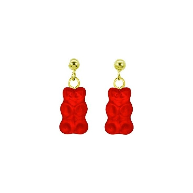 Haribo Gold Plated Red Gummi Bear Stud Earrings