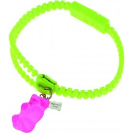 Haribo Green Luminous Zipper Bracelet with Pink Gummi Bear
