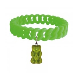 Haribo Green Stretchy Silicone Bracelet with Green Gummi Bear