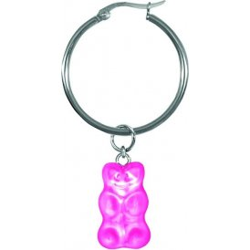 Haribo Pink Gummi Bear Round Hoop Earrings