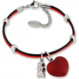 Haribo Red & Black Bracelet with Red Heart & Silver Gummi Bear