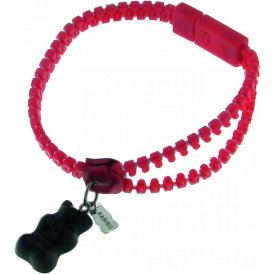 Haribo Red Luminous Zipper Bracelet with Black Gummi Bear