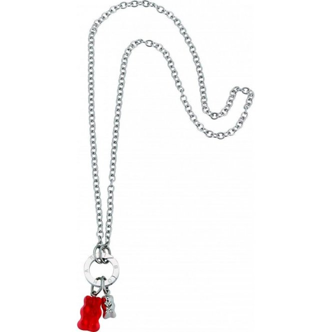 Haribo Steel Necklace with Red and Silver Gummi Bears
