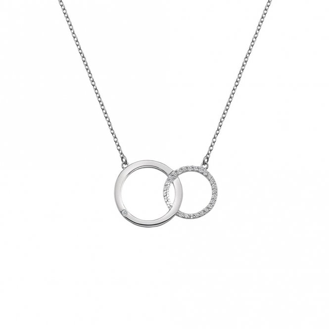 Hot Diamonds Bliss Interlocking Circle Necklace Silver ~ DN127