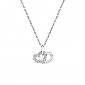 Hot Diamonds Double Heart Pendant - Silver ~ DP682