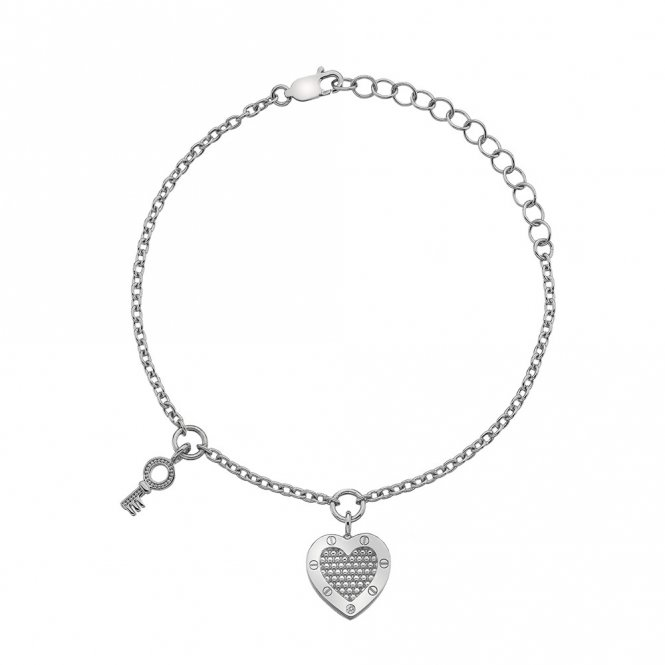 Hot Diamonds Lock In Love Beaded Bracelet Silver ~ DL561