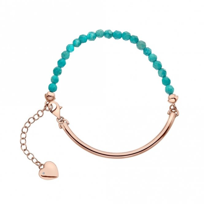 Hot Diamonds Rose Gold & Turquoise Bracelet ~ DL308