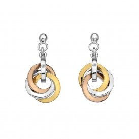 Hot Diamonds Silver & Gold Plated Accent Trio Earrings ~ DE389