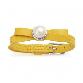 Jersey Pearl Citron Joli Leather Bracelet