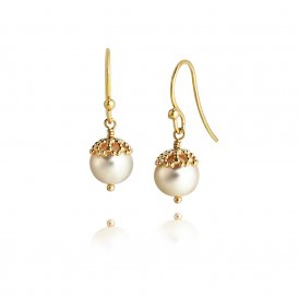 Jersey Pearl Gold White Emma-Kate Filigree Drops